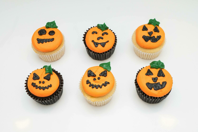 Pumpkin Face Decorated Cupcakes