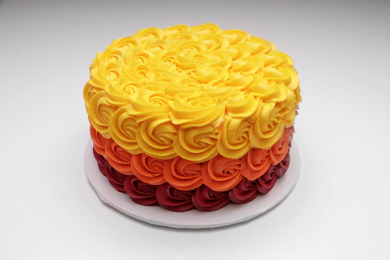 Autumn Ombre Rosettes Cake
