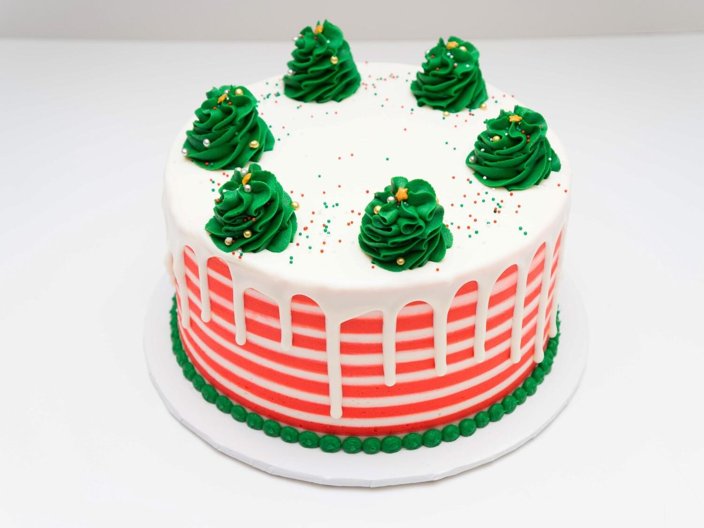 Christmas Trees Striped Drip Cake