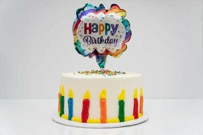 Happy Birthday Balloon & Candle Cake