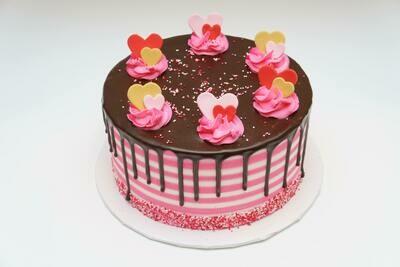 Heart Striped Drip Cake