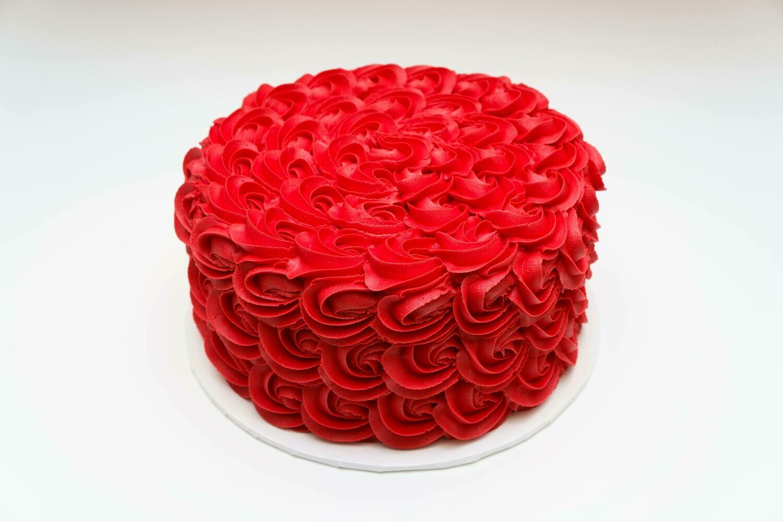 Valentine's Red Rosette Cake