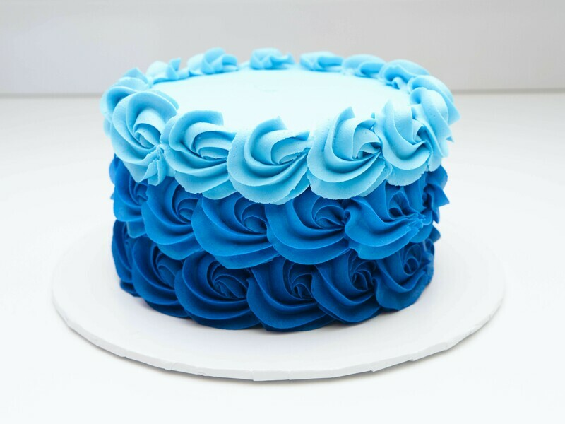 Blue Ombre Rosette Cake