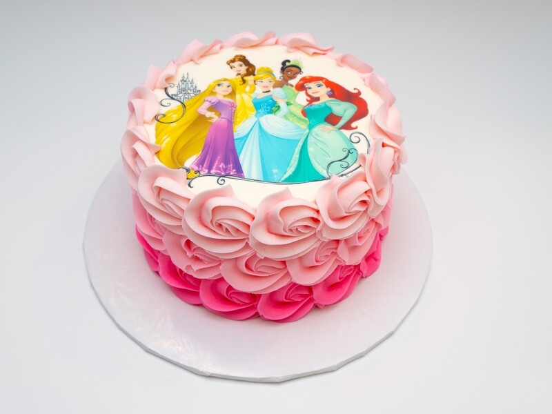 Disney Princess Image Ombre Rosette Cake