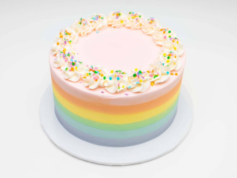 Pastel Rainbow Striped Confetti Cake