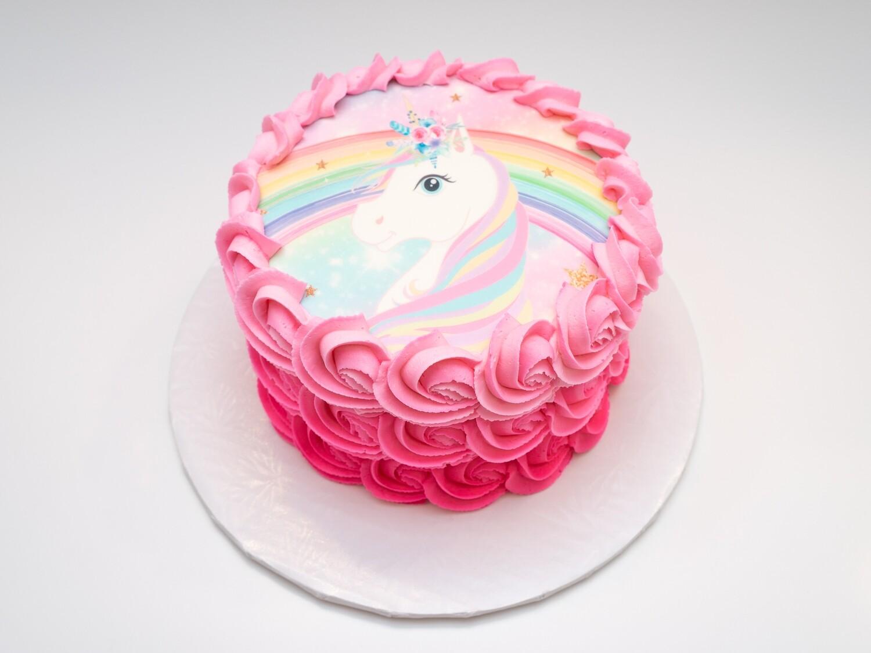 Unicorn Image Pink Ombre Rosette Cake