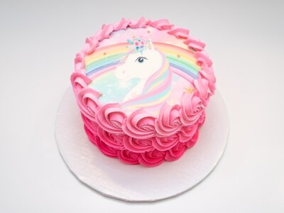 Unicorn Image Pink Ombre Rosette Cake