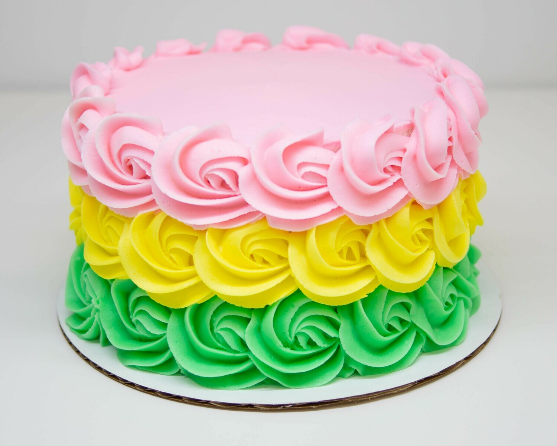 Springtime Ombre Rosette Cake
