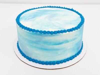 Blue on White Swirl Cake