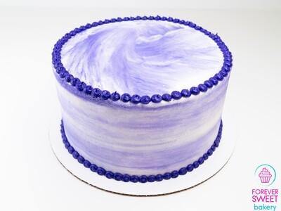 Purple on White Swirl Cake