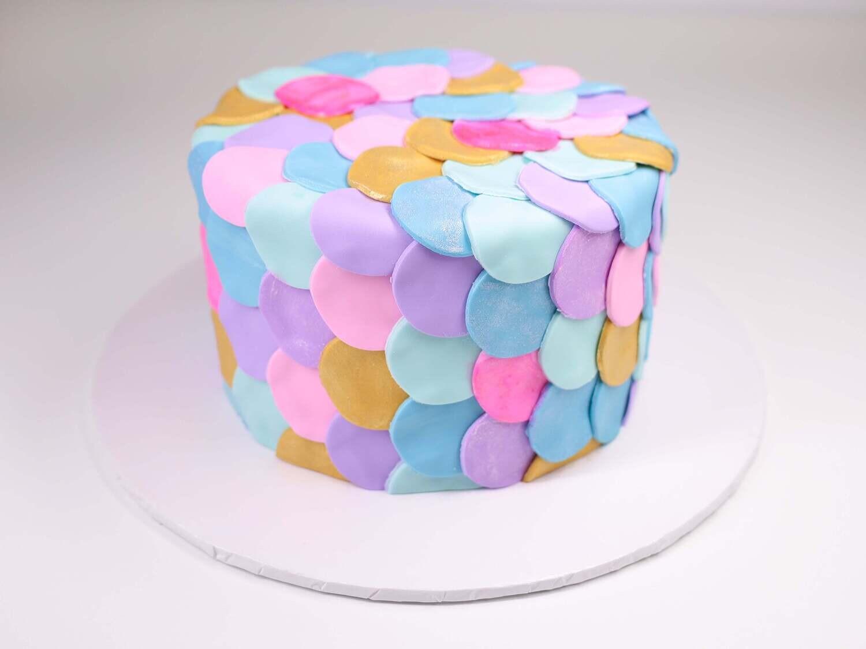 Mermaid Scales Fondant Covered Cake