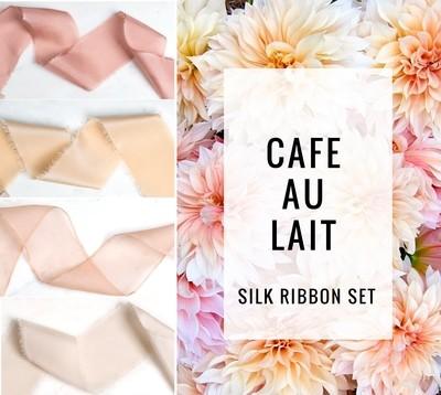 Cafe Au Lait Silk Ribbon Set; 100% Silk; Peach Pink Blush Wedding bridal bouquet, invitations, favors, wedding photography styling