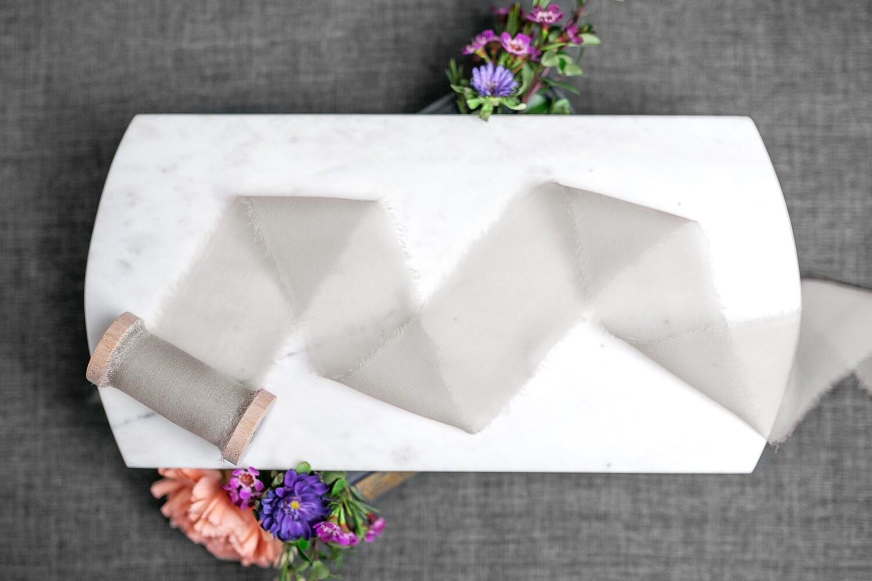 Fog Gray | Sheer Silk Ribbon | 100% Silk Chiffon