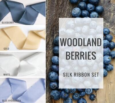 Woodland Berries Silk Ribbon Set; 100% Silk; Blue Gold Wedding bridal bouquet, invitations, favors, wedding photography styling