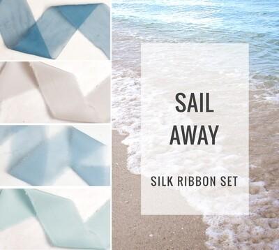 Sail Away Silk Ribbon Set; 100% Silk; Blue nautical ocean Wedding bridal bouquet, invitations, favors, wedding photography styling