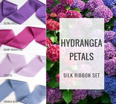 Hydrangea Petals Silk Ribbon Set; 100% Silk; Pink Purple blue Wedding bridal bouquet, invitations, favors, wedding photography styling