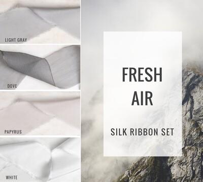 Fresh Air Silk Ribbon Set; 100% Silk; Gray White neutral Wedding bridal bouquet, invitations, favors, wedding photography styling