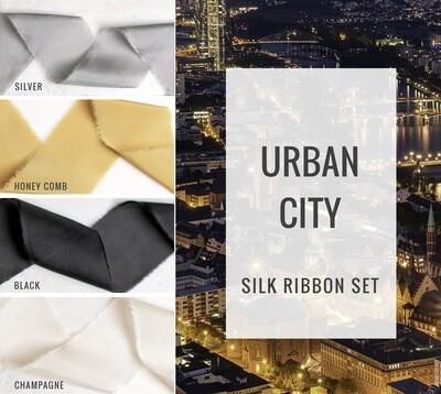 Urban City Silk Ribbon Set; 100% Silk; Gray White gold Wedding bridal bouquet, invitations, favors, wedding photography styling