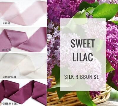 Sweet Lilac Silk Ribbon Set; 100% Silk; lavender purple mauve Wedding bridal bouquet, invitations, favors, wedding photography styling