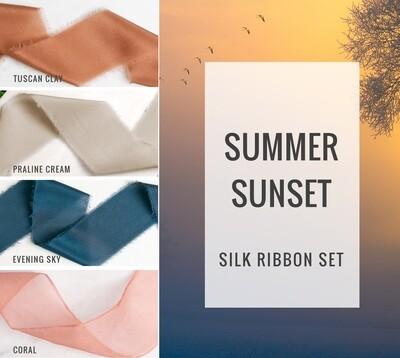 Summer Sunset Silk Ribbon Set; 100% Silk; Orange, Blue Wedding bridal bouquet, invitations, favors, wedding photography styling