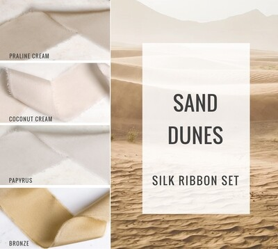 Sand Dunes Silk Ribbon Set; 100% Silk; Beige White neutral Wedding bridal bouquet, invitations, favors, wedding photography styling