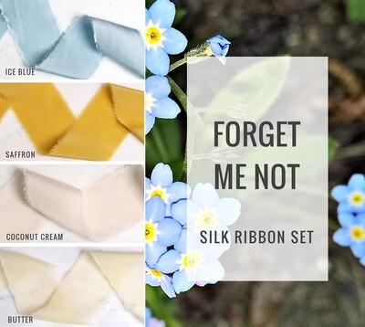Forget Me Not Silk Ribbon Set; 100% Silk; blue yellow mustard Wedding bridal bouquet, invitations, favors, wedding photography styling