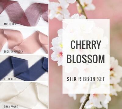 Cherry Blossom Silk Ribbon Set; 100% Silk; Blue Pink Blush Wedding bridal bouquet, invitations, favors, wedding photography styling