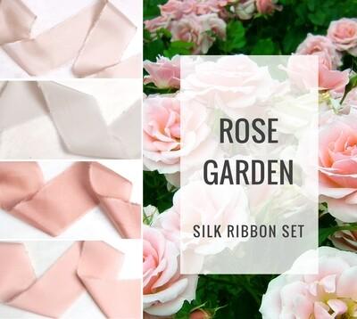 Rose Garden Silk Ribbon Set; 100% Silk; Blush pink rose Wedding bridal bouquet, invitations, favors, wedding photography styling