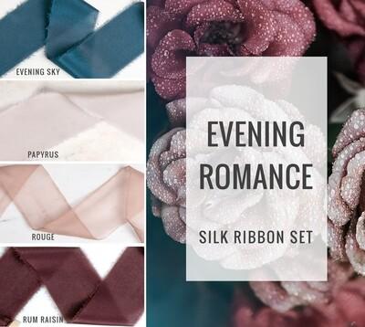 Evening Romance Silk Ribbon Set; 100% Silk; blush merlot blue Wedding bridal bouquet, invitations, favors, wedding photography styling
