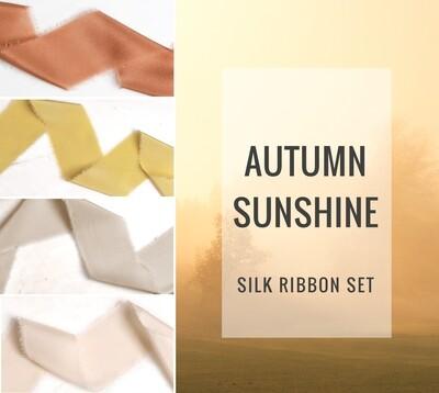 Autumn Sunshine Silk Ribbon Set; 100% Silk;Yellow Gold Orange Rust Wedding bridal bouquet, invitations, favors, wedding photography styling