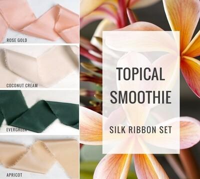 Tropical Smoothie Silk Ribbon Set; 100% Silk; Peach Pink Blush Wedding bridal bouquet, invitations, favors, wedding photography styling