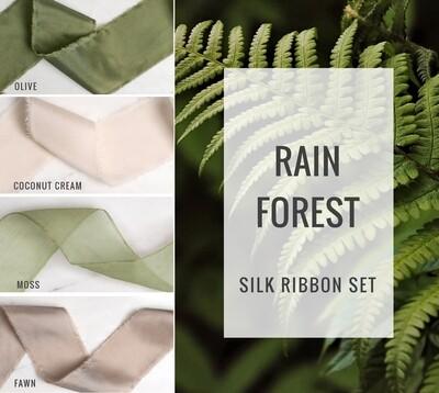 Rain Forest Silk Ribbon Set; 100% Silk; Brown Green Wedding bridal bouquet, invitations, favors, wedding photography styling