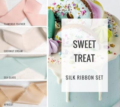Sweet Treat Silk Ribbon Set; 100% Silk; Pink, Blue, Peach Wedding bridal bouquet, invitations, favors, wedding photography styling