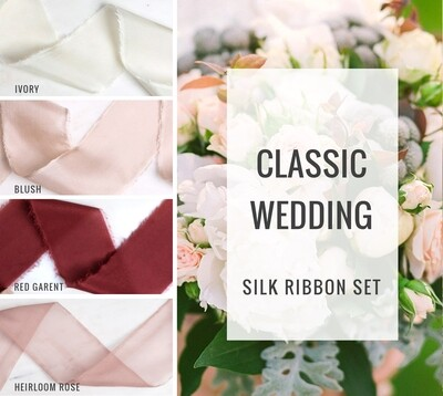 Classic Wedding Silk Ribbon Set; 100% Silk; blush red Wedding bridal bouquet, invitations, favors, wedding photography styling