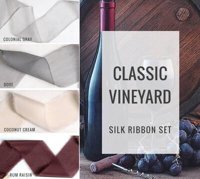 Classic Vineyard Silk Ribbon Set; 100% Silk; Gray Merlot Wedding bridal bouquet, invitations, favors, wedding photography styling
