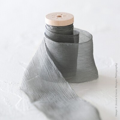 Dove Grey | Crinkle Silk Ribbon | 100% Silk Chiffon