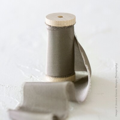 Ash Grey | Luxe Silk Ribbon | 100% Silk