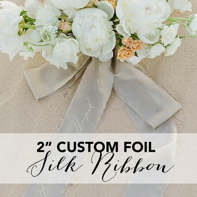 "2"" Ribbon w/ Custom Foil Text | 65+ Colors"