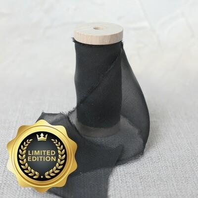 Sheer Black | Silk Ribbon | 100% Silk Chiffon