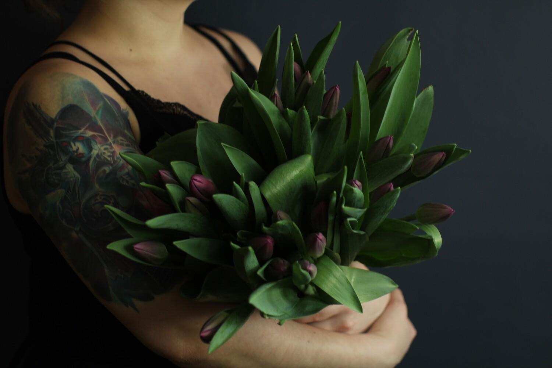 Моно  фиолетовых тюльпанов