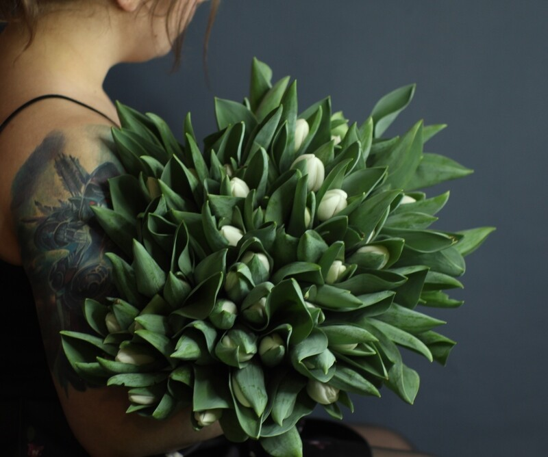 Моно белых тюльпанов