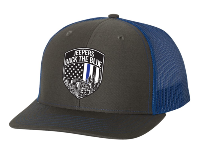 Jeepers Back the Blue Snapback Hat   Charcoal/Royal