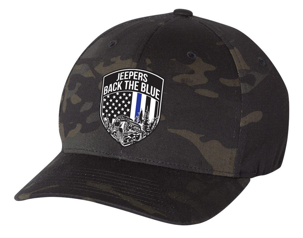 Jeepers Back the Blue Flexfit Hat | Multicam Black