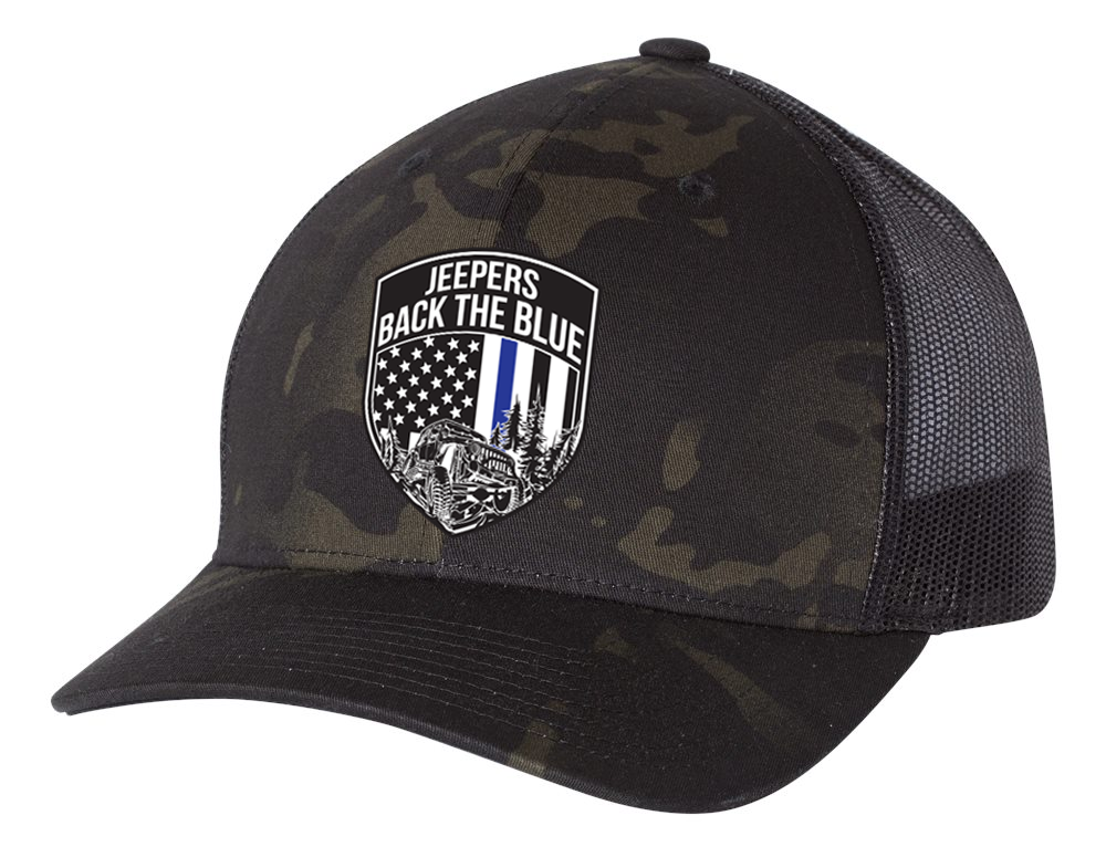 Jeepers Back the Blue Snapback Hat | Multicam