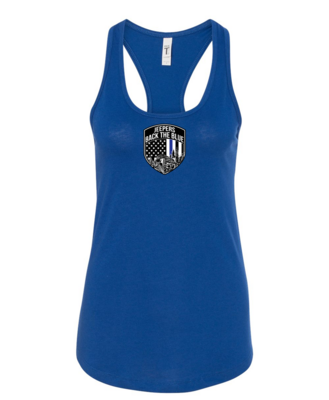 Jeepers Back the Blue Women's Racerback Tank | Royal