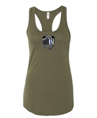 Jeepers Back the Blue Women's Racerback Tank | Military Green