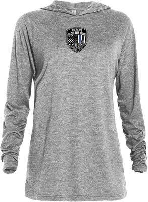 Jeepers Back the Blue Triblend Lightweight Hoodie | Athletic Heather