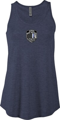 Jeepers Back the Blue Women's Triblend Flowy Tank | Heather Navy
