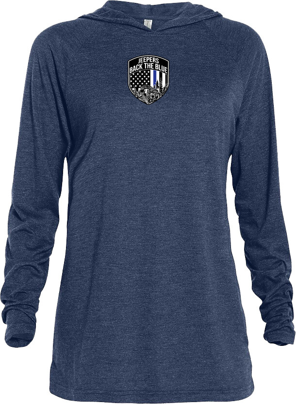 Jeepers Back the Blue Triblend Lightweight Hoodie | Navy Heather