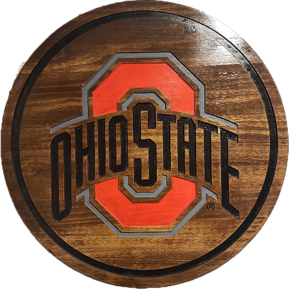 """Ohio State Athletic Logo 24"""" Barrel Head with Dark Stain"""